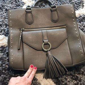 FREE with purchase grey studded large purse Tassel